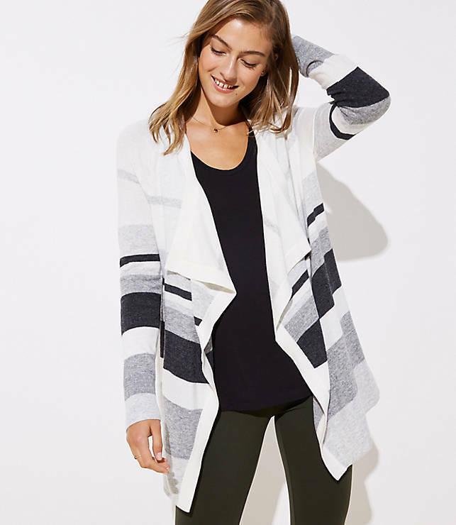 New LOFT Women's Striped Striped Striped Draped Open Cardigan Sweater - Size Small 05734d