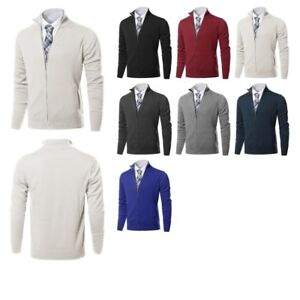 FashionOutfit Men s Classic Full Zip Up Mock Neck Basic Sweater ... 38bd691f1