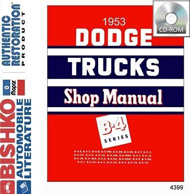 1953 Dodge Pickup Truck Shop Service Repair Manual Cd Engine Drivetrain Wiring Ebay
