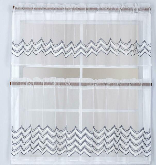Coffee Cup Kitchen Curtains Tiers Valance Complete Set
