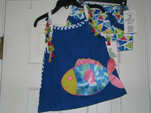 NWT girls blue multi-color fish 2-pc outfit by Rare Editions sz 12 /& 18 mo