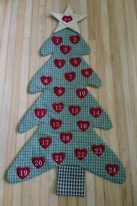 Details About Christmas Advent Calendar Fabric Felt Christmas Tree Wall Hanging 38 L