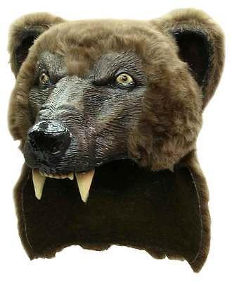 ANIMAL SHAMAN SCARY LATEX FANCY DRESS BROWN BEAR MASK & FUR SKIN HALLOWEEN NEW