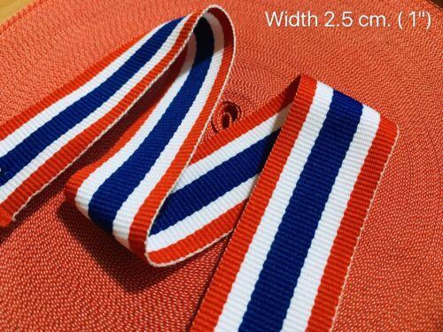 1M x 2.5cm Ribbon Grosgrain Thai Flag Love Thailand Vogue Bunting Sport Fashion