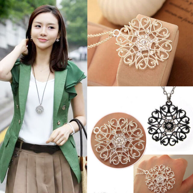 Women Lady Floral Pierced Crystal Rhinestone Long Sweater Chain Pendant Necklace