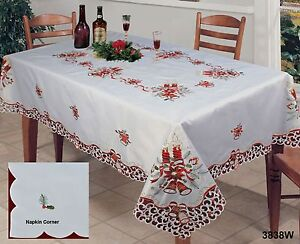 Christmas-Embroidered-Red-Poinsettia-Bell-Tablecloth-amp-Napkins-Holiday-3838W