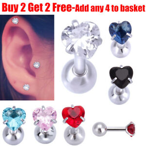 Image Is Loading Surgical Steel Heart Crystal Helix Tragus Stud Bar