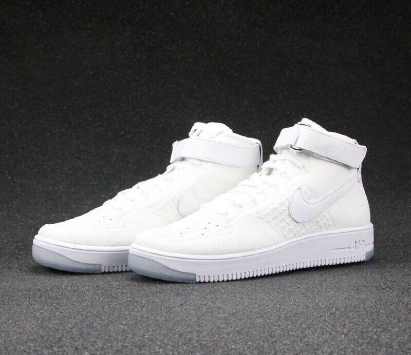 NIKE AIR FORCE 1 ULTRA FLYKNIT MID sz 15 Triple White Sneakers shoes 817420-100