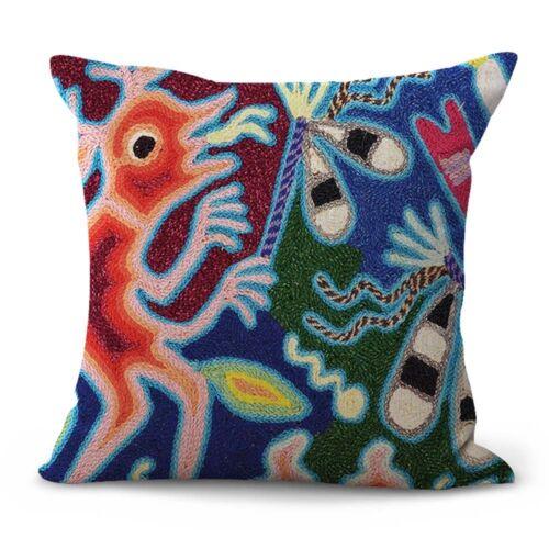US SELLER-Mexican Huichol folk art cushion cover modern throw pillow case