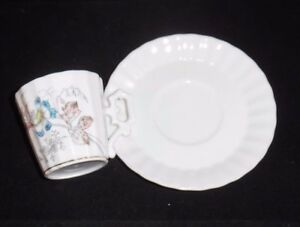 Old-Antique-Floral-Porcelain-Demitasse-Cup-amp-Saucer-Set-Blue-amp-White-Flower