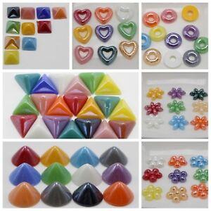 Craft-DIY-Mixed-Color-Flatback-Cabochon-Ceramic-Glass-Tile-Various-Shape-Flower