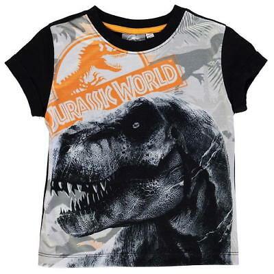 KIDS GREY MARL JURASSIC WORLD PARK RETRO T-REX LOGO CREW NECK TEE SHIRT T-SHIRT