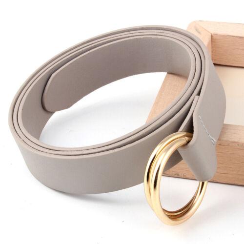 Ladies Faux Leather Narrow Belts Gold Metal Double Round Buckle Waist Belt
