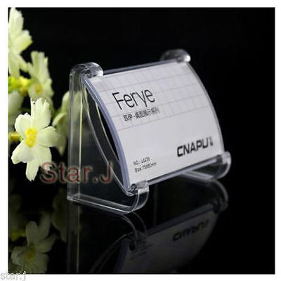30pcs Clear Acrylic Desktop Business Card Sign Display Holder Label Stand