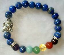 Lapis Lazuli Stone Seven Chakra Bracelet 8MM With Buddha Head ThroatChakra
