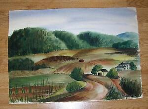AMERICANA VINTAGE YORK PA HILLS VALLEY HOUSE FARM PASTURE LANDSCAPE W/C PAINTING
