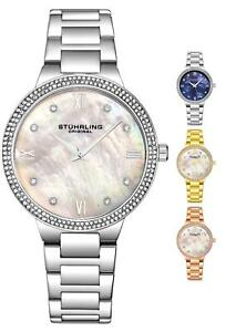 Stuhrling 3907 Women's Fashion MOP Dial Japan Quartz Steel Bracelet Dress Watch