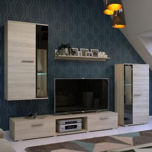 Details zu Modern Wohnwand Sammy Schrankwand Anbauwand Wohnzimmer Komplett  Beleuchtung LED