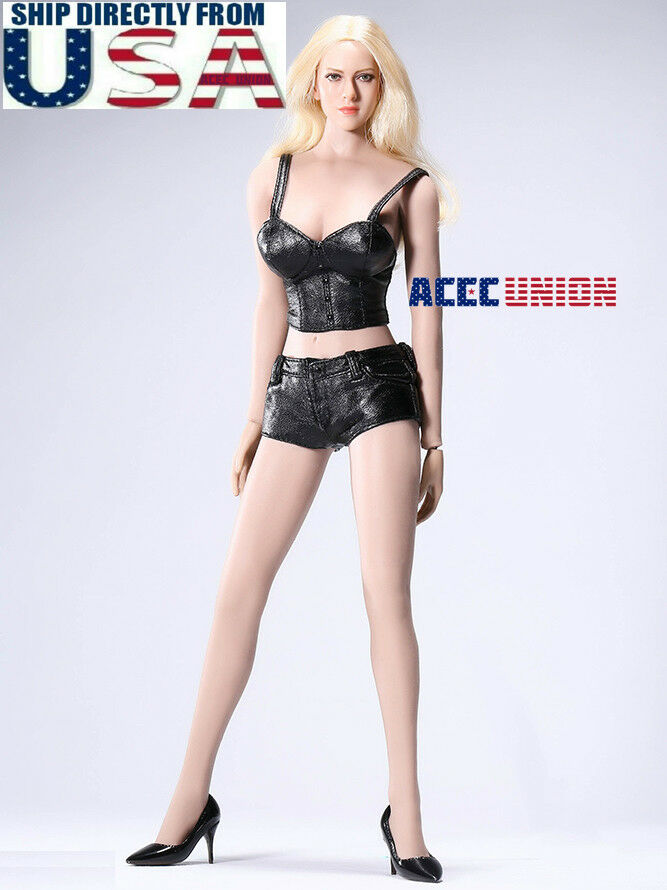 1 6 Female Leather Top Shorts shoes Set For 12  PHICEN Hot Toys Figure Doll USA