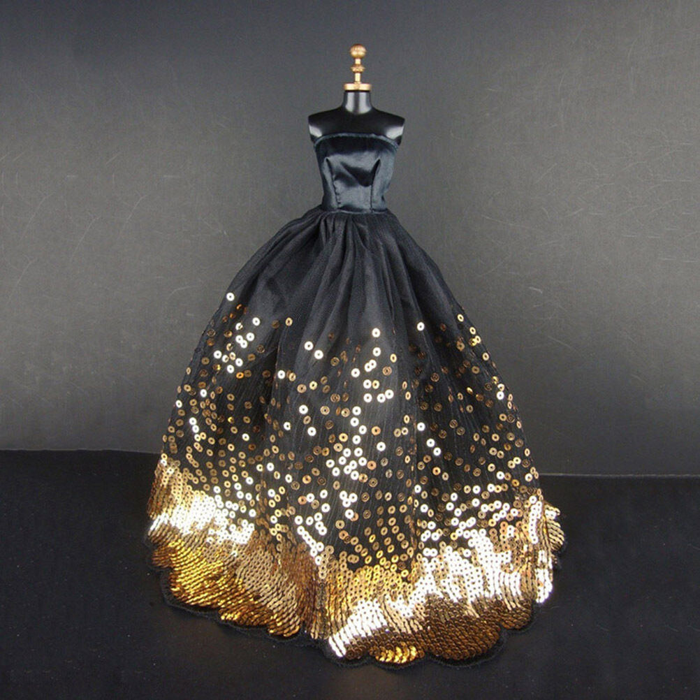 Luxury Black Wedding Party Dress Gold Sequins Clothes Grows for 11inch Doll Gift 5