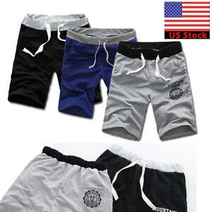 Men-Casual-Drawstring-Shorts-Pants-Gym-Trousers-Sport-Jogging-Beach-Swimming-US