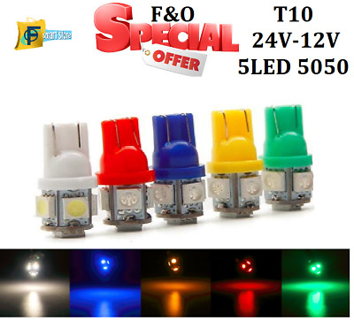 10x 8 SMD LED 3020 T10 W5W PUSH WEDGE CAPLESS WHITE SIDE LIGHT BULBS 6000K