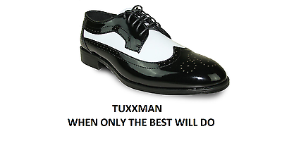 New Men/'s Two Tone Black /& White Patent Tuxedo Shoe TUXXMAN Dress Shoes Formal
