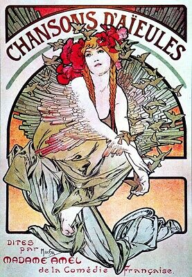 "1896-24x32/"" Art Nouveau CANVAS ART Alfons Alphonse Mucha- -Zodiac"