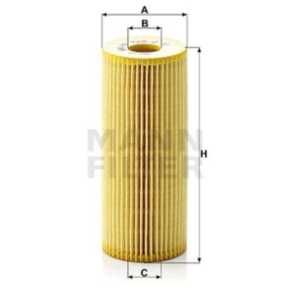 Mann HU726/2x Oil Filter Element Metal Free 153mm Height 64mm Outer Diameter