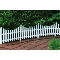 Emsco Decorative Resin Picket Fence Border, White, 13 In. High, 18 Pcs. (36 Ft.