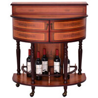Rolling Vintage Wine Cabinet Bar Stand Wood Storage Holder Liquor Bottle Shelf