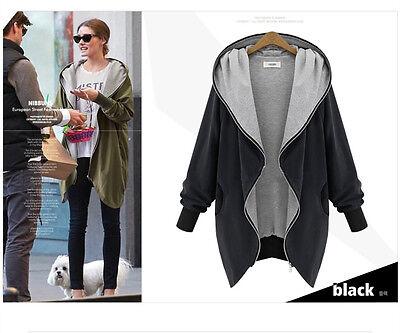 New Women Zip Hooded Parka Cotton Warm Winter Coat Overcoat Long Jacket XL-5XL