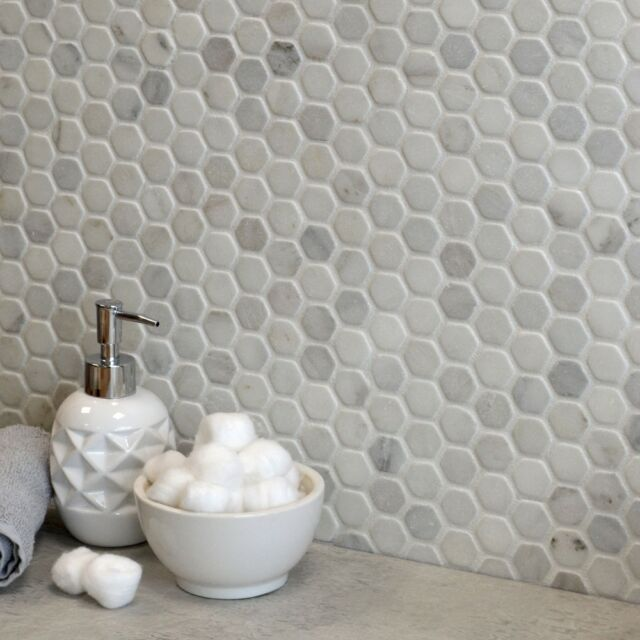 Matt White Hexagon Marble Mosaic 290x285x12mm Floor Wall Tiles 2 Sqm