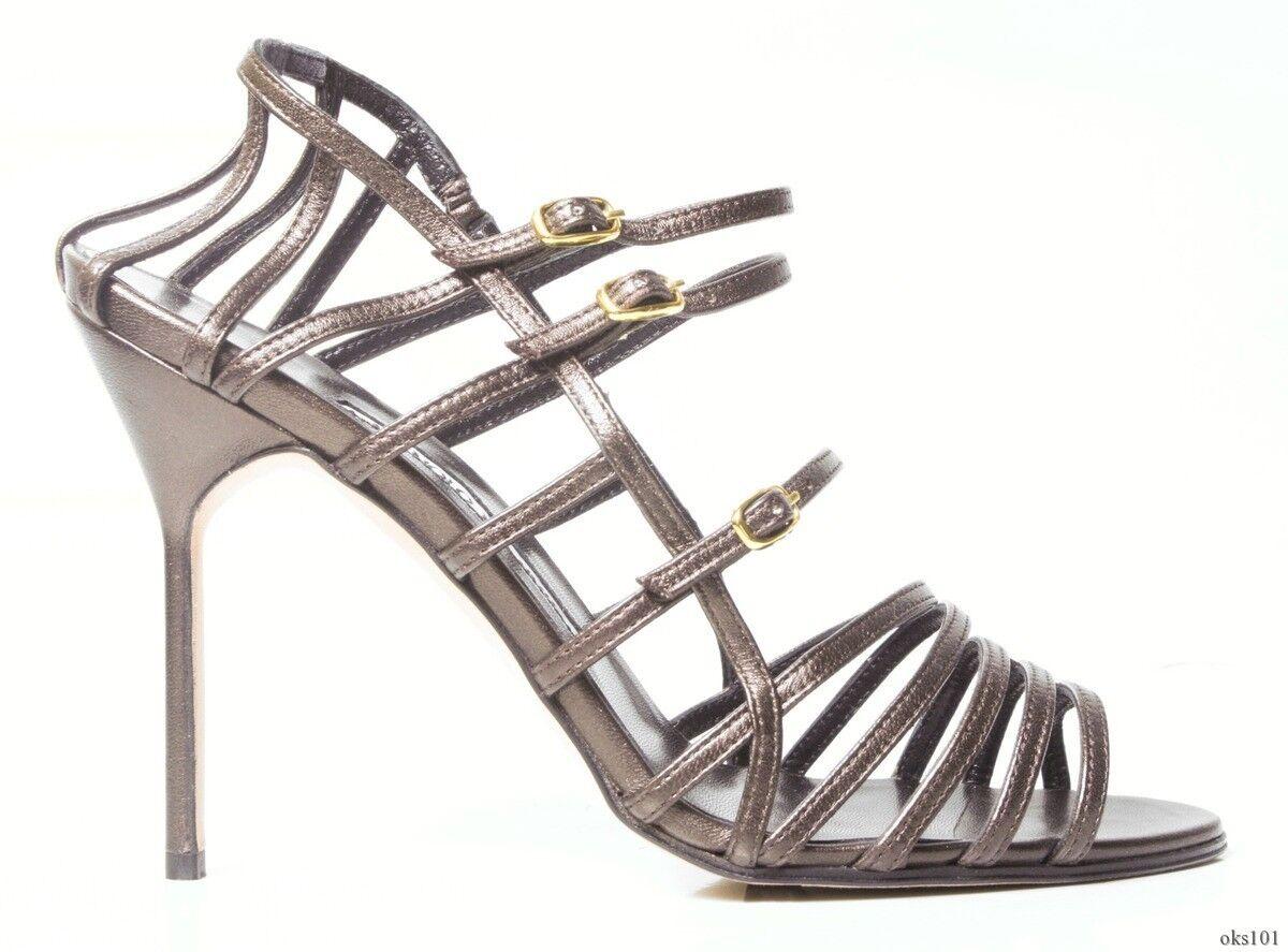 New  815 MANOLO BLAHNIK  Amacha  coffe dark bronze strappy open-toe shoes - SEXY