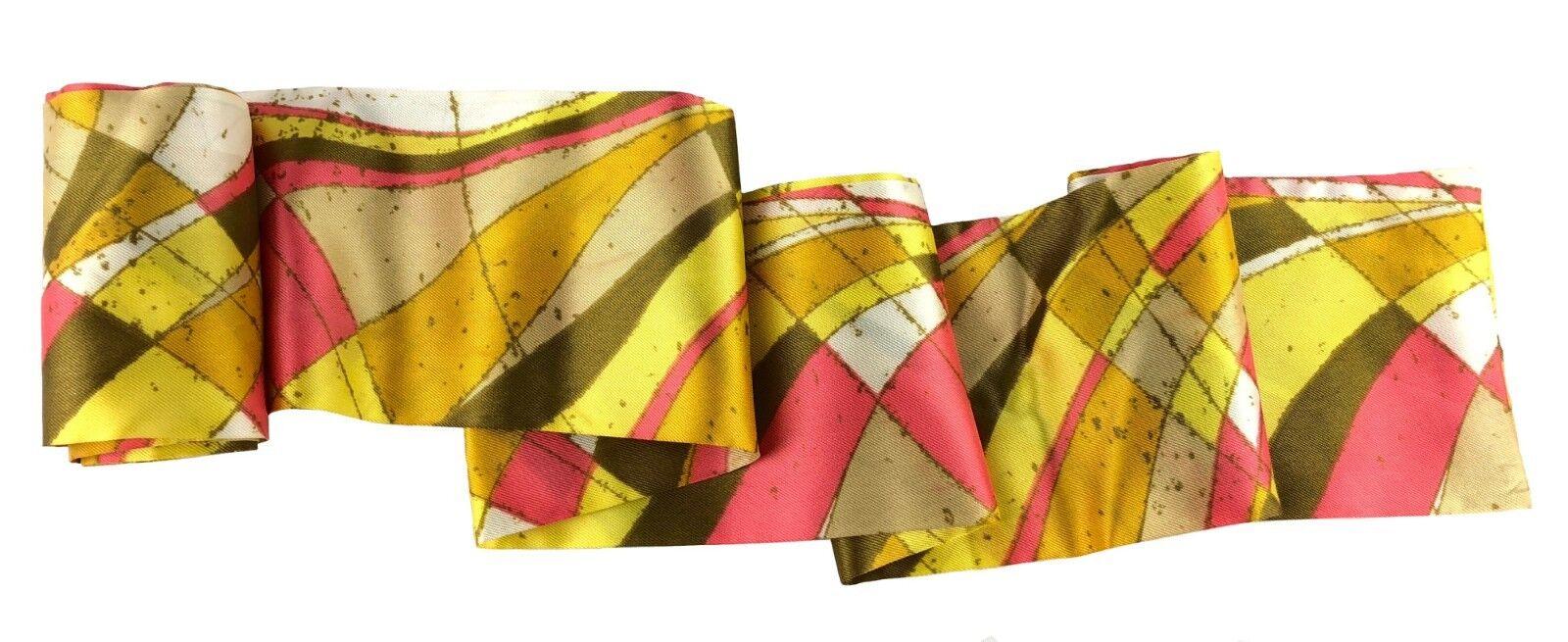 Vintage Silky Sash Yellow Gold Pink Abstract Mod Design 82
