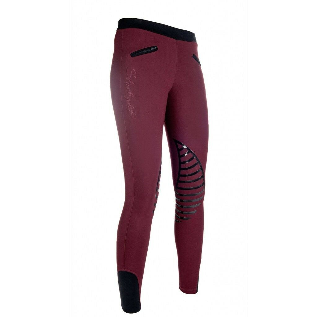 HKM  Starlight Pull on Comfy Riding Leggings Tights - deep red  factory outlet
