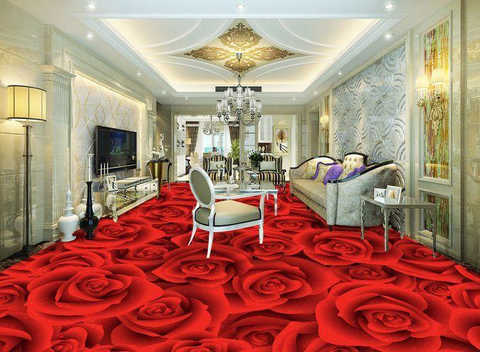 3D rot fioritura Pavimento Foto Wallpaper Murales Muro Stampa Decalcomania