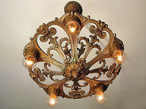 Details About Gorgeous Antique Markel Light Fixture Original Polychrome Finish Red