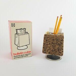 Vintage Cork Pencil Holder Note Board Cube Mid Century Desk Accessory Organizer