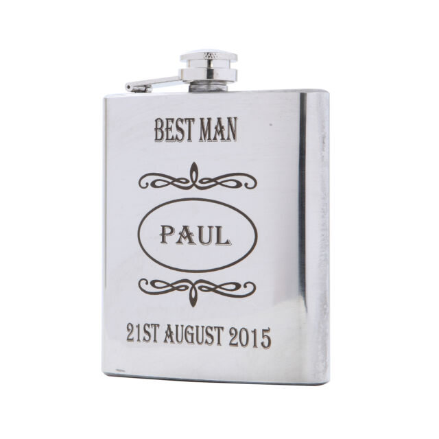 Wedding Gift Personalised Engraved Hip Flask Best Man Usher Stainless Steel