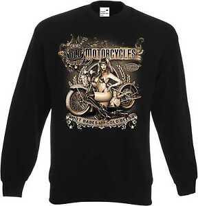 Sweatshirt-schwarz-HD-V-Twin-Biker-Chopper-amp-Oldschoolmotiv-Modell-Old-Motorcycle