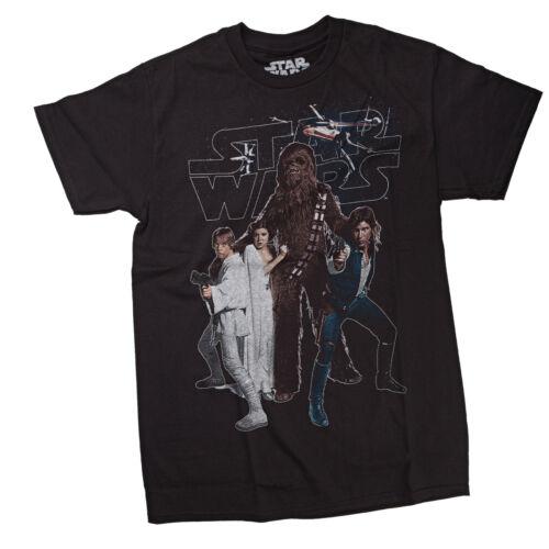 Star Wars Chewbacca and The Gang Mens Black T-Shirt