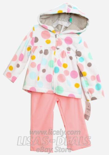 New Carter/'s Baby Girl Hoodie 2 Piece Fleece Set Pink Black Elephant 9 Months 9M