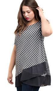 KORI Black Brown Stripe Short Sleeve Lace  Pull Over Blouse Top Tunic XL 1X 2X