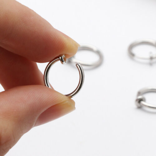 10Pcs Sliver No Ear-hole DIY Clip On Circle Hoop Earrings For Jewelry Making