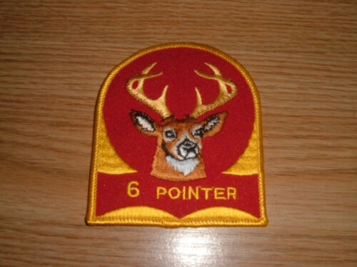 VINTAGE 6 POINTER DEER BUCK HUNTING TROPHY EMBROIDERED PATCH