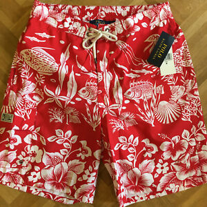 🔴 NEU 🔴 POLO Ralph Lauren Badeshorts - M - Rot Weiß - Herren - Badehose Shorts