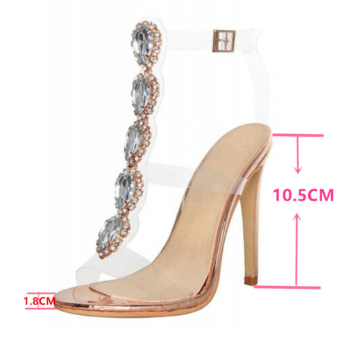 Women Clear Perspex High Heel Party Sandals Crystal PU Stiletto Jelly Pumps Size
