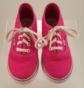 e943c2e657 GIRLS VANS PINK LACEUP CLASSIC CANVAS TENNIS SNEAKERS SIZE US 10 UK ...