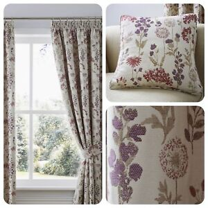 Curtina-BERRINGTON-Purple-Floral-Pencil-Pleat-Curtain-Cushions-Collection
